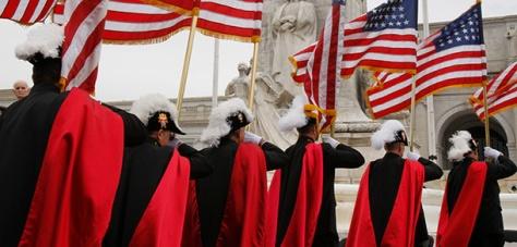 KNIGHTS OF COLUMBUS CARRY FLAGS AT NATIONAL COLUMBUS MEMORIAL CENTENNIAL CELEBRATION